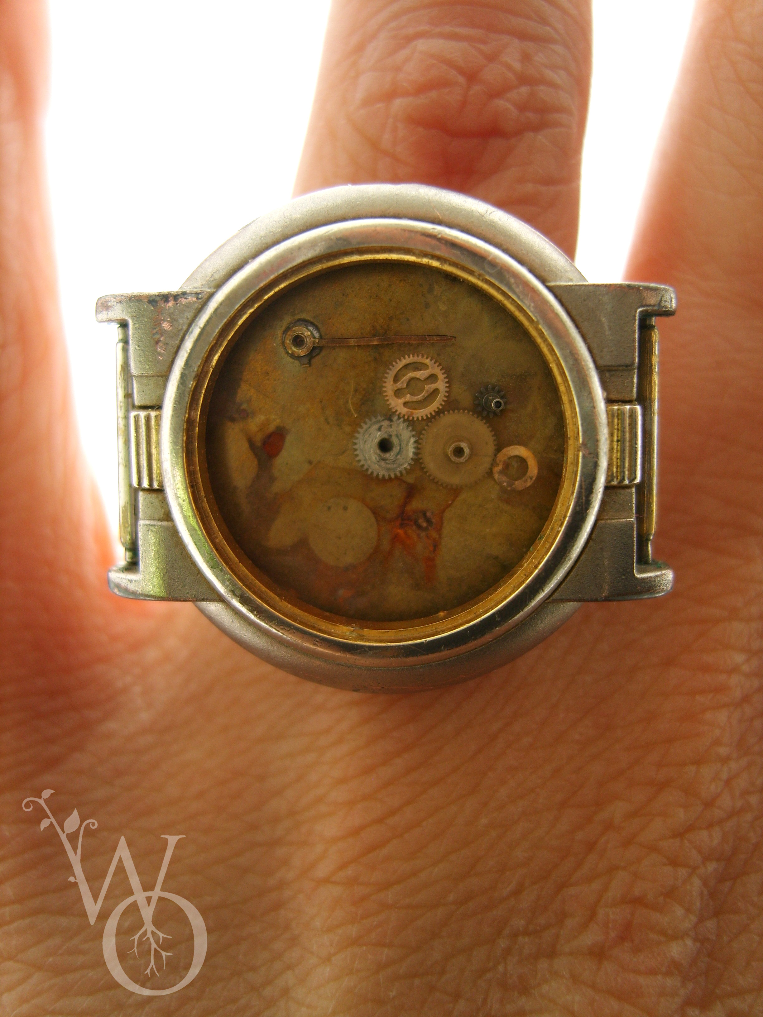 ring deep sea diver with various aged watch parts