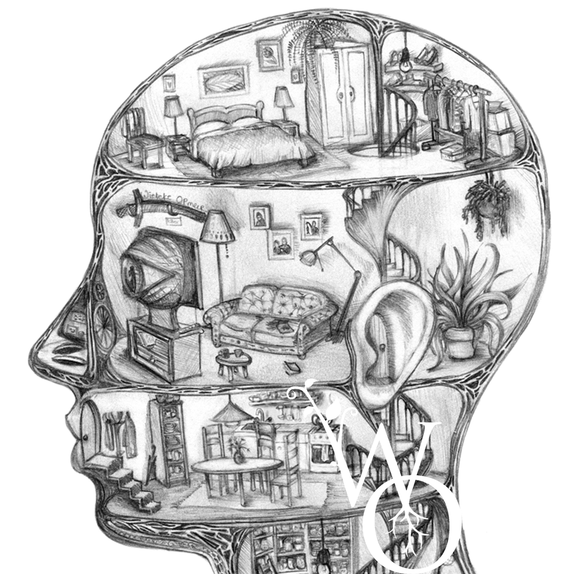 drawing of intersected human head showing a fantastical house.