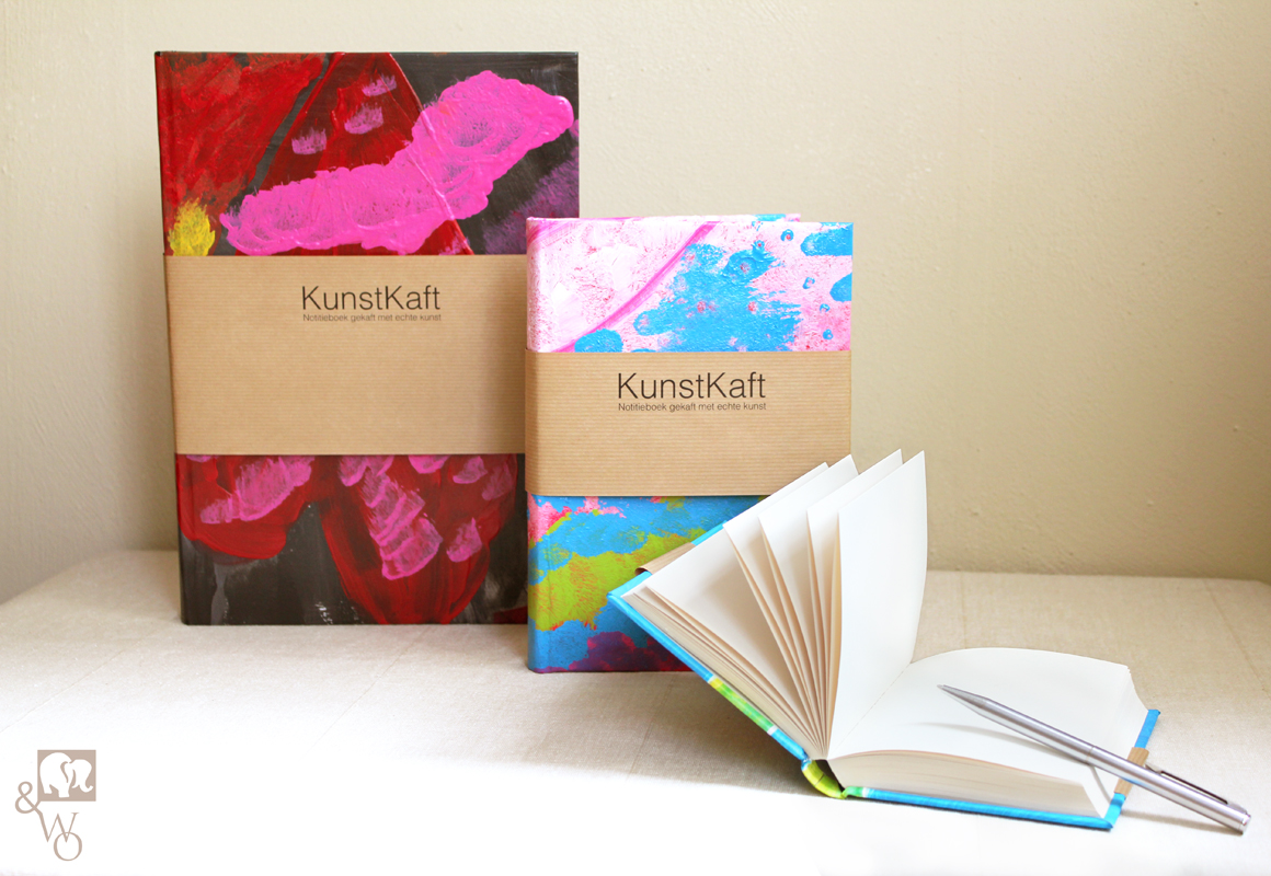 three different sized unlined notebooks with a colorful cover made from real paintings.