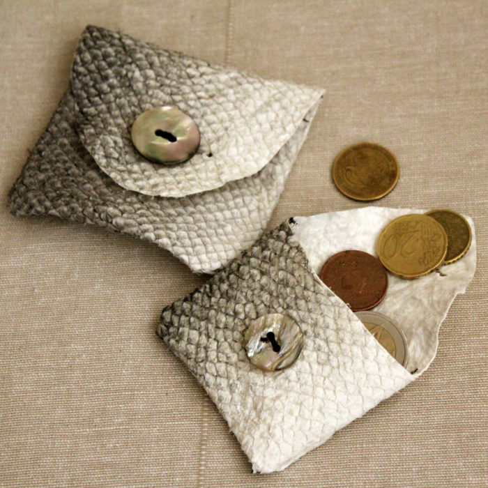 two fish leather wallet with mother of pearl buttons